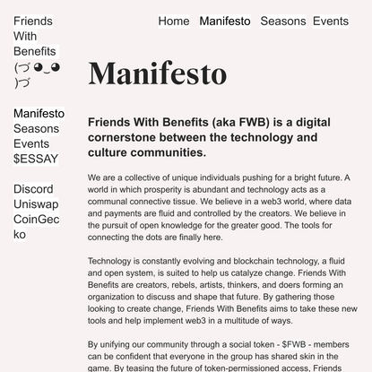 Manifesto — Friends With Benefits - $FWB