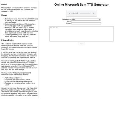 Online Microsoft Sam TTS Generator