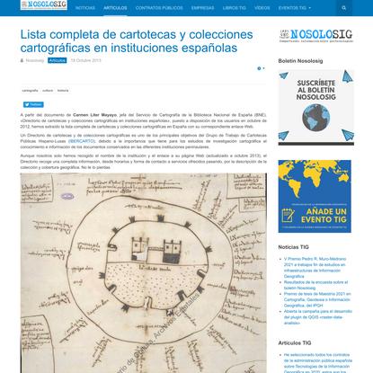 Lista completa de cartotecas y colecciones cartográficas en instituciones españolas
