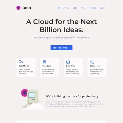 Deta – A Cloud for the next Billion Ideas.