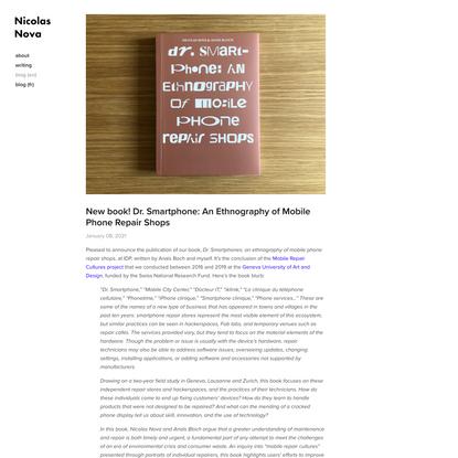 New book! Dr. Smartphone: An Ethnography of Mobile Phone Repair Shops — Nicolas Nova