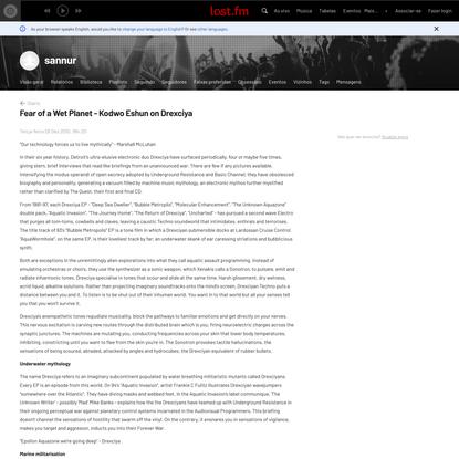 Diário de sannur - Fear of a Wet Planet - Kodwo Eshun on Drexciya | Last.fm