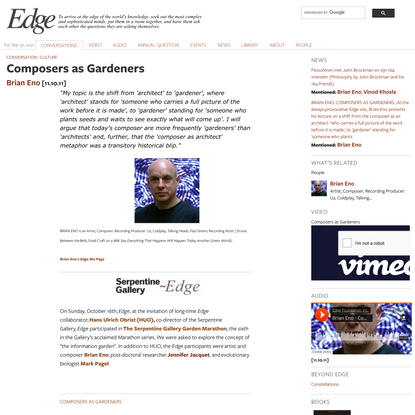 Composers as Gardeners | Edge.org