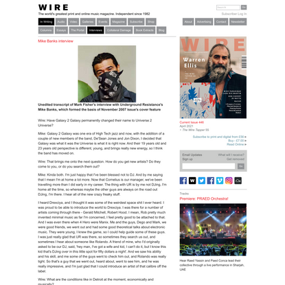 Mike Banks interview - The Wire