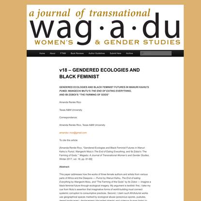v18 – GENDERED ECOLOGIES AND BLACK FEMINIST | Wagadu