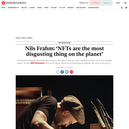 Nils Frahm interview: 'NFTs are the most disgusting thing on the planet'