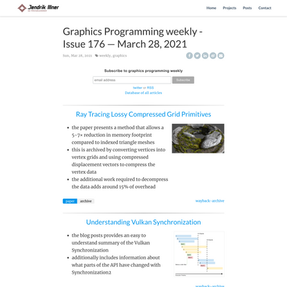 Graphics Programming weekly - Issue 176 — March 28, 2021 | Jendrik Illner - 3D Programmer