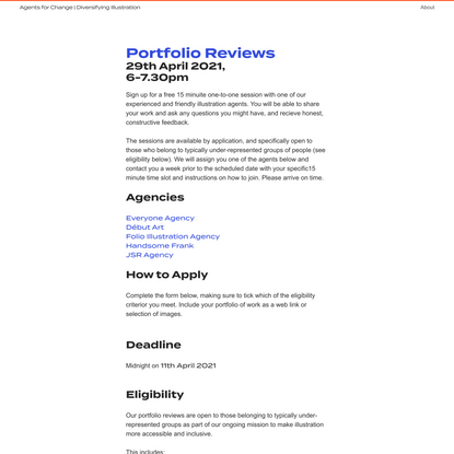 Portfolio Reviews - Agents for Change