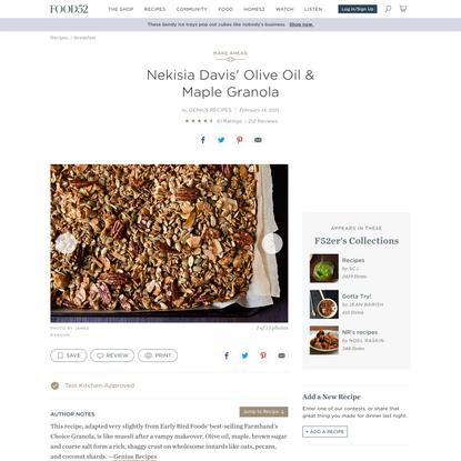 Nekisia Davis' Olive Oil & Maple Granola Recipe on Food52