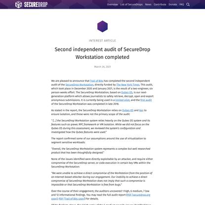 Second independent audit of SecureDrop Workstation completed