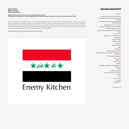 Enemy Kitchen — MICHAEL RAKOWITZ