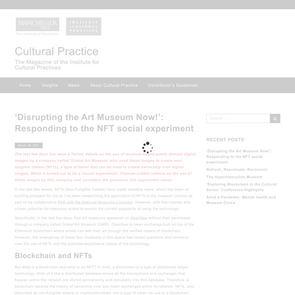 'Disrupting the Art Museum Now!': Responding to the NFT social experiment