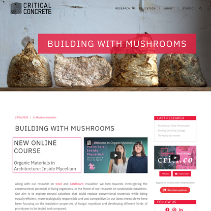 Building with Mushrooms | Critical Concrete