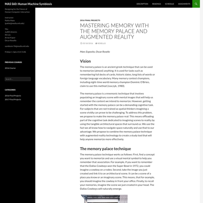 Mastering Memory with the Memory Palace and Augmented Reality