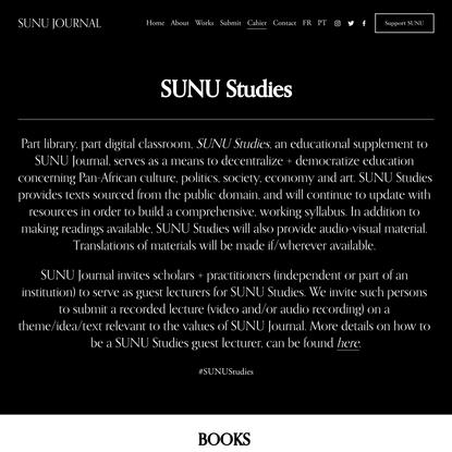 SUNU Studies — SUNU Journal