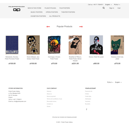 Polish Poster Gallery. Online shop with Polish posters