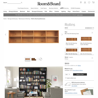Rollins Stacking Bookcases - Modern Bookcases & Shelving - Room & Board Modern Storage and Entryway Furniture - Room & Board