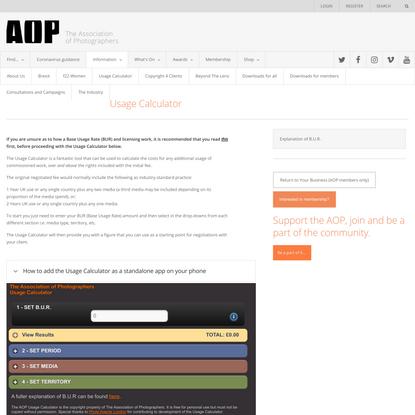 AOP usage calculator for photographers