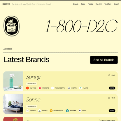 1-800-D2C: Your go-to resource on D2C Brands & Tools