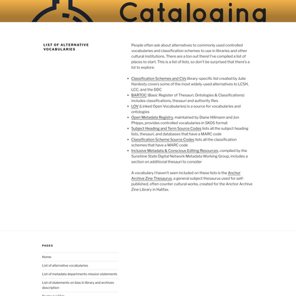 List of alternative vocabularies – Cataloging Lab