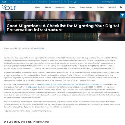 Good Migrations: A Checklist for Migrating Your Digital Preservation Infrastructure - DLF