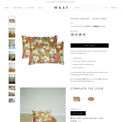 Pillow Case Set - Acid Floral