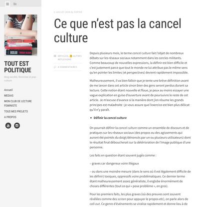 Ce que n'est pas la cancel culture - Tout est politique