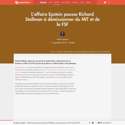 L'affaire Epstein pousse Richard Stallman à démissionner du MIT et de la FSF