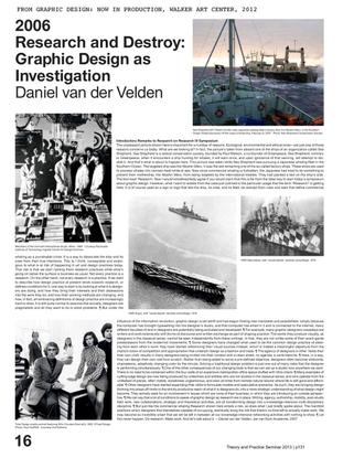 Daniel van der Velden, Research and Destroy
