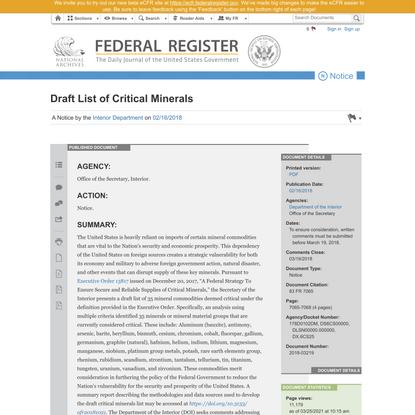 Draft List of Critical Minerals
