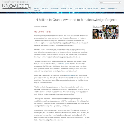 1.4 Million in Grants Awarded to Metaknowledge Projects | Knowledge Lab | The University of Chicago