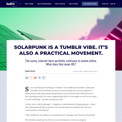Solarpunk Is a Tumblr Vibe. It's Also a Practical Movement.