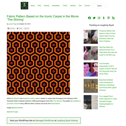 Fabric Pattern Based on the Iconic Carpet in the Movie 'The Shining'