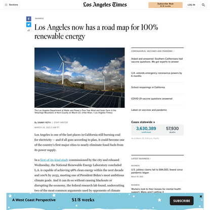Los Angeles now has a road map for 100% renewable energy