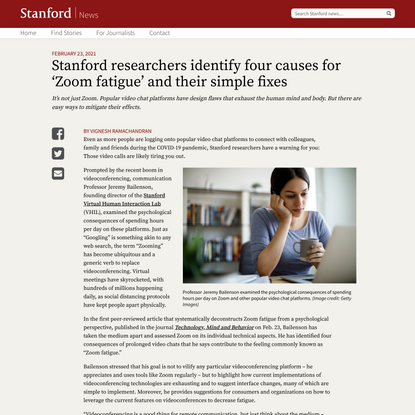Four causes for 'Zoom fatigue' and their solutions | Stanford News