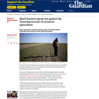 Black farmers speak out against the 'festering wound' of racism in agriculture