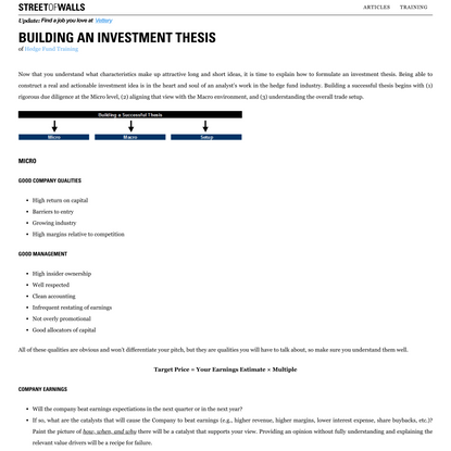 Building an Investment Thesis | Street Of Walls