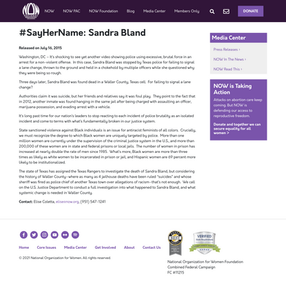 #SayHerName: Sandra Bland – National Organization for Women