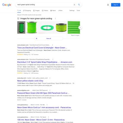 neon green spiral cording - Google Search