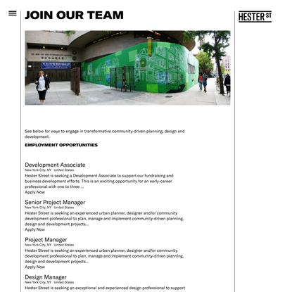 Join Our Team - Hester Street