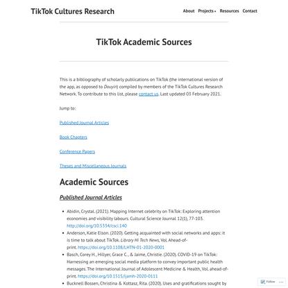 TikTok Academic Sources