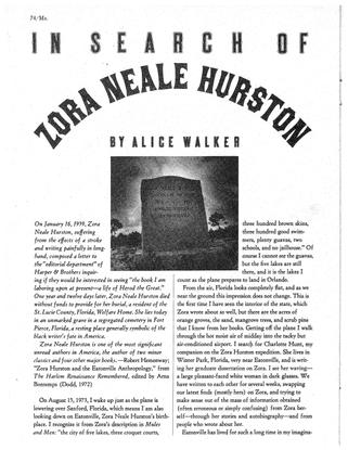 In Search of Zora Neale Hurston by Alice Walker (1975)