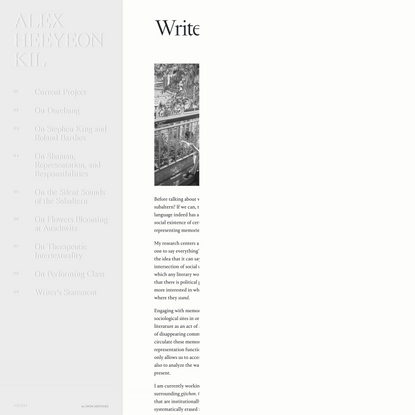 Alex Heeyeon Kil - Writer's Statement