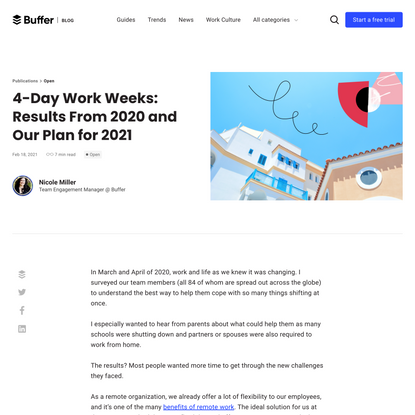4-Day Work Weeks: Results From 2020 and Our Plan for 2021