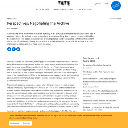 Perspectives: Negotiating the Archive – Tate Papers   Tate