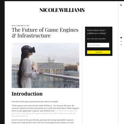 The Future of Game Engines & Infrastructure » Nicole Williams