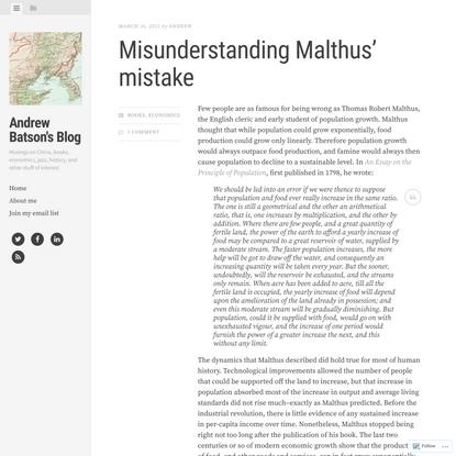 Misunderstanding Malthus' mistake
