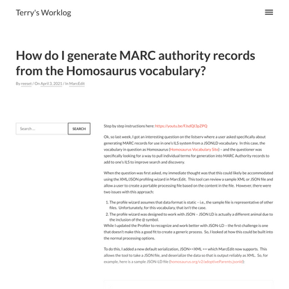 How do I generate MARC authority records from the Homosaurus vocabulary?