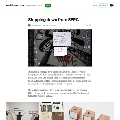 Stepping down from SFPC