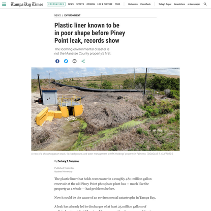 Plastic liner known to be in poor shape before Piney Point leak, records show